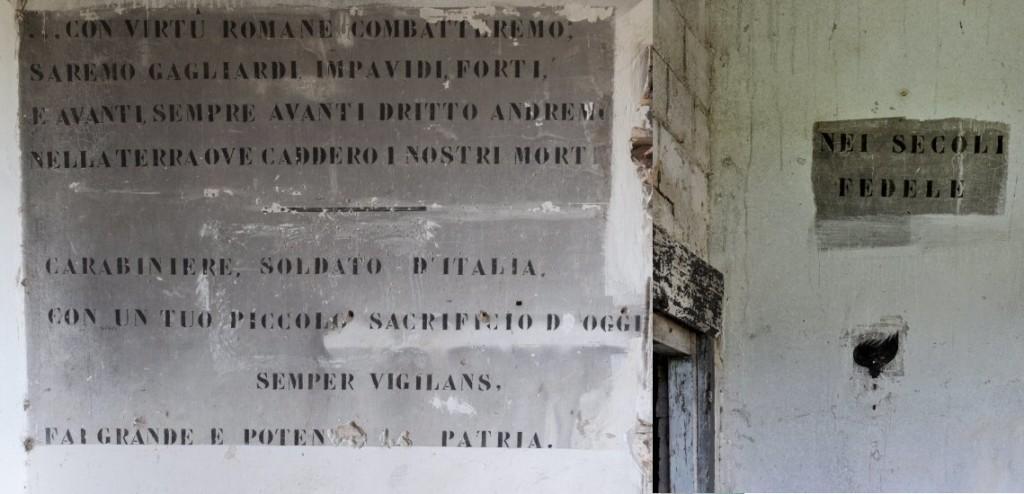 Alcune scritte ancora presenti all'interno dellapalazzina del corpo di guardia